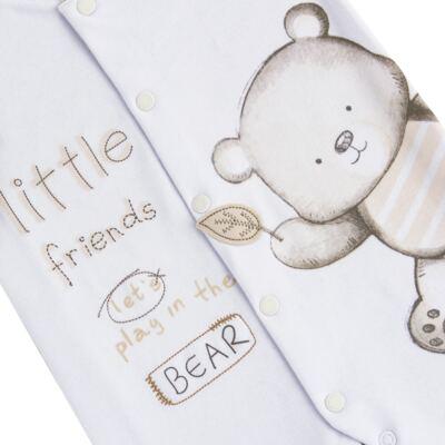 Imagem 2 do produto Macacão longo para bebe em algodão egípcio c/ jato de cerâmica Nature Little Friends - Mini & Classic - MAML650 MACACAO M/L SUEDINE NATURE-P