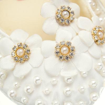 Imagem 2 do produto Sapatilha para bebe em cetim Bouquet Marfim - Roana - SPL00106031 Sapatilha Flores  Pérolas Marfim-P