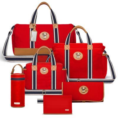 Imagem 1 do produto Bolsa Passeio para bebe + Bolsa Albany + Térmica Gold Coast + Necessaire + Trocador + Porta Mamadeira sarja Adventure Vermelha - Classic for Baby Bags