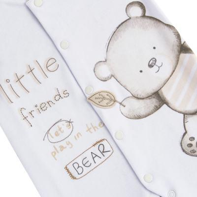 Imagem 2 do produto Macacão longo para bebe em algodão egípcio c/ jato de cerâmica Nature Little Friends - Mini & Classic - MAML650 MACACAO M/L SUEDINE NATURE-M