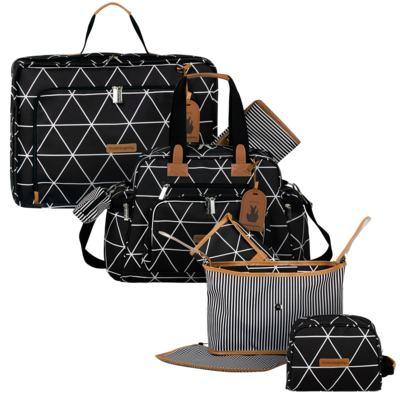 Imagem 1 do produto Mala maternidade Vintage + Bolsa Everyday + Frasqueira Organizadora + Necessaire Manhattan Preta  - Masterbag