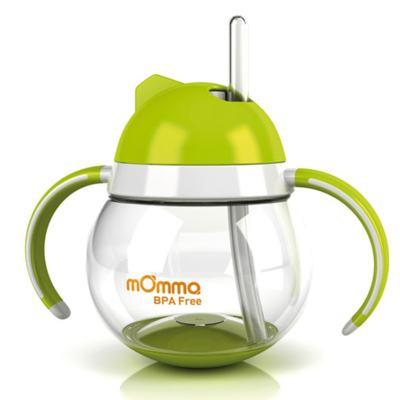 Imagem 2 do produto Copo de transição com canudo Antivazamento com alças Verde 250 ml (12m+) + Escova de limpeza - mOmma
