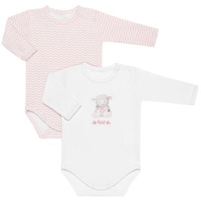 Imagem 1 do produto Pack 2 Bodies longos para bebe em suedine Ovelhinha Rosa - Petit - 10424344 PACK 2 BODIES M/L SUEDINE OVELHA FEM-G