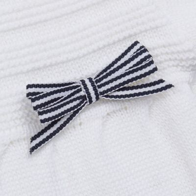 Imagem 2 do produto Macacão longo para bebe em tricot Navy - Mini Sailor - 21744260 MACAO RECORTE E LACINHOS TRICOT BRANCO-6-9