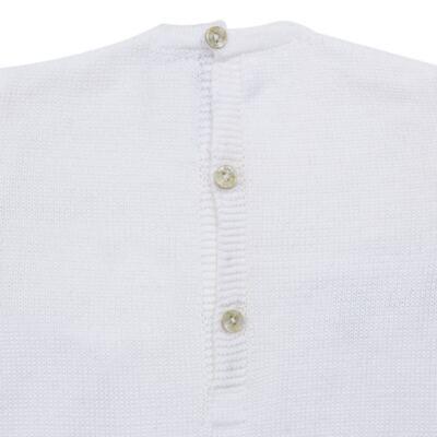 Imagem 3 do produto Macacão longo para bebe em tricot Navy - Mini Sailor - 21744260 MACAO RECORTE E LACINHOS TRICOT BRANCO-6-9