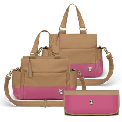 Imagem 1 do produto Bolsa maternidade para bebe Genebra + Frasqueira Térmica Zurique + Trocador Portátil Due Colore Pink - Classic for Baby Bags