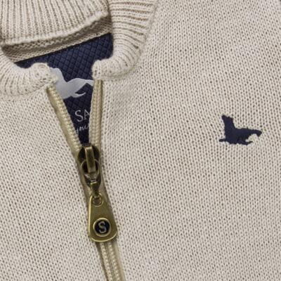 Imagem 2 do produto Casaquinho para bebe em tricot Caqui - Mini Sailor - 75494267 CASACO BASICO ZIPER TRICOT CAQUI-0-3