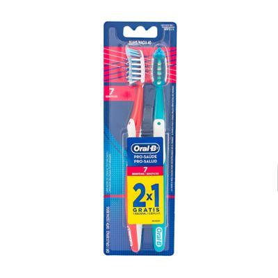 Imagem 2 do produto Kit Oral-B 2 Escovas Pró-Saúde 7 Benefícios + Fio Dental 3D White Flexível Hastes 75 Unidades