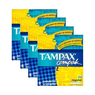 Imagem 1 do produto Kit 4 Absorvente Interno Tampax Compak Regular 32 Unidades