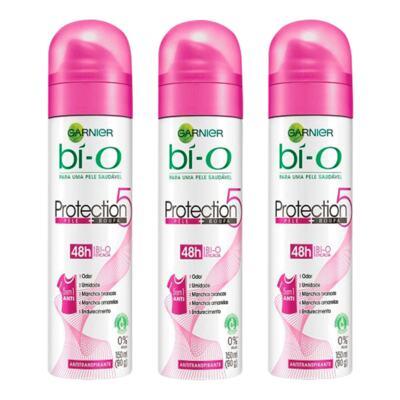 Imagem 1 do produto Kit Desodorante Bí-O Protection 5 Aerosol Feminino 150ml 3 Unidades