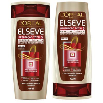 Imagem 1 do produto Kit Elseve Shampoo e Condicionador Total 5 Química 400ml