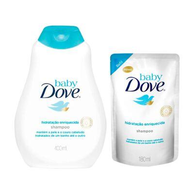 Imagem 1 do produto Kit Dove Baby Hidratação Enriquecida Shampoo 400ml + Refil 180ml