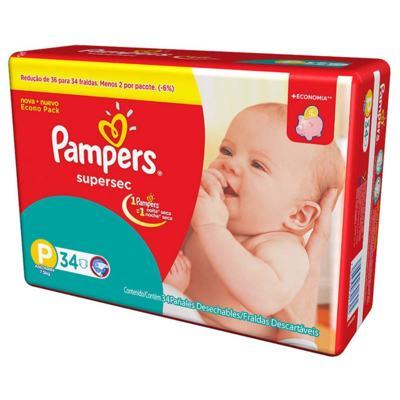 Imagem 2 do produto Kit Pampers Fralda Descartável Supersec P 68 Unidades + Lenço Umedecido Fresh Clean 192 Unidades