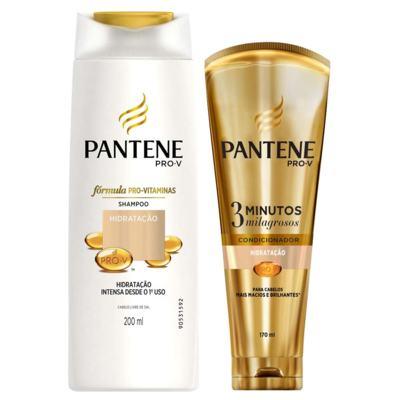 Imagem 1 do produto Kit Pantene Hidratação Shampoo 200ml + Condicionador 3 Minutos Milagrosos 170ml
