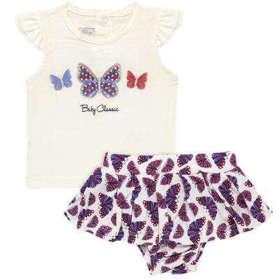 Imagem 1 do produto Blusinha com Calcinha Saia para bebe em viscolycra Butterflies - Baby Classic - 20521628 BLUSINHA M/C C/ SAIA VISCOLYCRA BUTTERFLY -GG