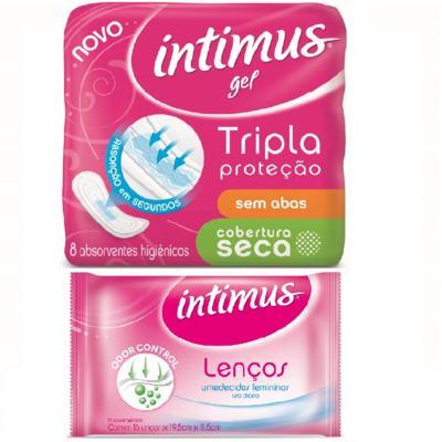 Imagem 1 do produto Absorvente Intimus Gel Cobertura Normal Seca sem abas com 8 unidades + Lenços Umedecidos Intimus com 16 Unidades