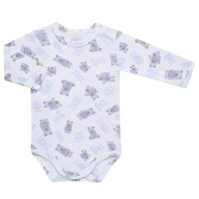 Imagem 2 do produto Body longo c/ Calça para bebe em algodão canelado Ursinho - Dedeka - DDK0890/E176 CONJUNTO DE BODY CANELADO ESTAMPADO URSINHO-GG