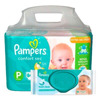 Imagem 1 do produto Kit Pampers Fralda Descartável Confort Sec P 84 Unidades + Lenços Umedecidos Fresh Clean 48 Unidades