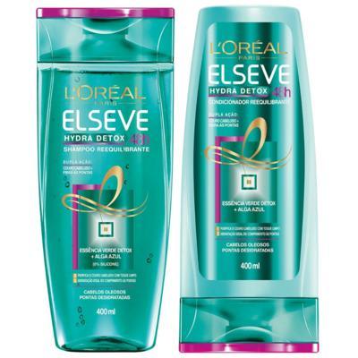 Imagem 1 do produto Kit Elseve Hydra Detox 48h Antioleosidade Shampoo 400ml + Condicionador 400ml