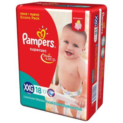 Imagem 2 do produto Kit Pampers Fralda Descartável Supersec XXG 36 Unidades + Lenço Umedecido Fresh Clean 192 Unidades