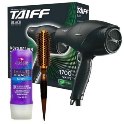 Imagem 1 do produto Kit Secador Taiff Black 1700W + Escova Térmica Marco Boni + Aussie Moist Tratamento 3 Minutos