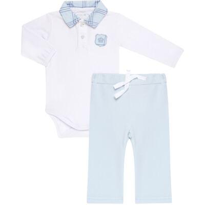 Imagem 1 do produto Body longo com Calça em viscomfort Le Petit Azul - Baby Classic - 18660001.03 CONJ.BODY C/GOLA E CALÇA - VISCOMFORT-RN