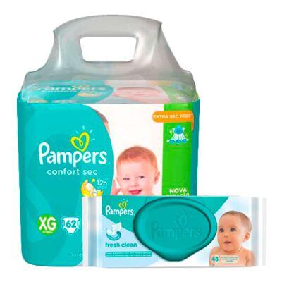 Imagem 1 do produto Kit Pampers Fralda Descartável Confort Sec XG 62 Unidades + Lenços Umedecidos Fresh Clean 48 Unidades