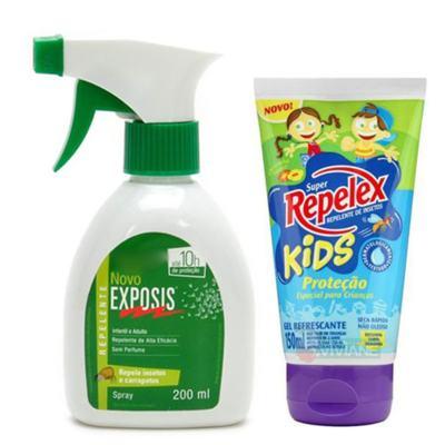 Imagem 1 do produto Repelente Exposis Spray 200ml + Repelente Replex Kids 133ml
