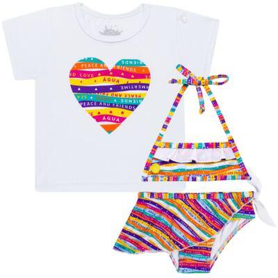 Imagem 1 do produto Conjunto de Banho Peace & Love: Camiseta + Biquíni - Cara de Criança - KIT 1 2586: B2586+CCA2586 BIQUINI E CAMISETA SUMMER-1