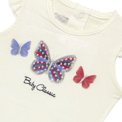 Imagem 3 do produto Blusinha com Calcinha Saia para bebe em viscolycra Butterflies - Baby Classic - 20521628 BLUSINHA M/C C/ SAIA VISCOLYCRA BUTTERFLY -P