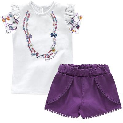 Imagem 1 do produto Blusinha c/ Shorts para bebe em cotton Sweety Candy - Charpey - CY20182.101 CONJ BLUSA E SHORT BRANCO-GG
