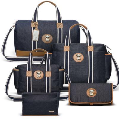 Imagem 1 do produto Bolsa Passeio para bebe + Bolsa +  Frasqueira Térmica Gold Coast + Porta Mamadeira + Trocador + Necessaire Adventure Jeans - Classic for Baby Bags