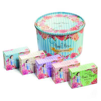 Imagem 1 do produto Kit Banho Alma de Flores 5 Sabonetes 130g + Lata Exclusiva