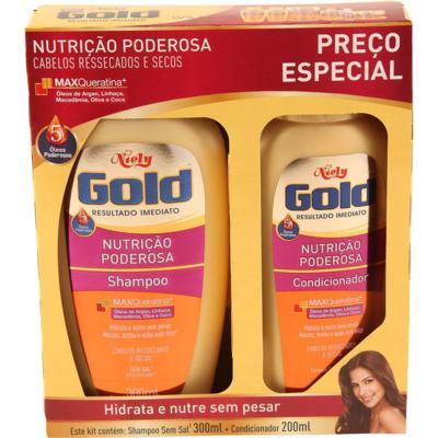 Kit Niely Gold Shampoo+Condicionador Nutrição Poderosa - Ressecados E Secos | 500ml | 2 unidades