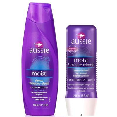 Imagem 1 do produto Kit Aussie Moist Shampoo 400ml + Tratamento Milagroso 236ml