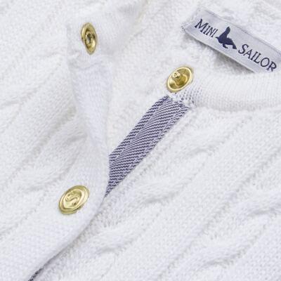 Imagem 2 do produto Casaquinho para bebe em tricot trançado Branco - Mini Sailor - 75404260 CASAQUINHO BASICO TRANÇADO TRICOT BRANCO -NB