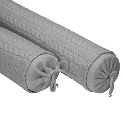 Imagem 3 do produto Kit Berço: Rolinhos Laterais + Rolinho Cabeceira + Almofada Quadrada + Almofada Retangular Cinza - Petit