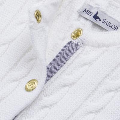 Imagem 2 do produto Casaquinho para bebe em tricot trançado Branco - Mini Sailor - 75404260 CASAQUINHO BASICO TRANÇADO TRICOT BRANCO -2
