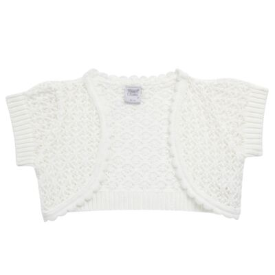 Imagem 4 do produto Vestido c/ Bolero para bebe em fustão Branco - Mini & Classic - 1425659 VESTIDO COM BOLERO TRICOLINE/BRANCO-M