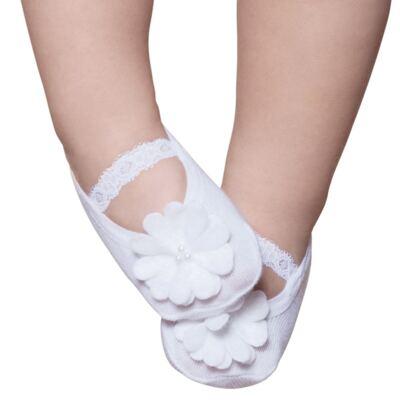 Imagem 1 do produto Meia Sapatilha para bebe Renda e Flor Branca - Puket - PK9033L-B Meia Festa Sapatilha Boneca RN Branco-0/4