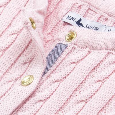 Imagem 2 do produto Casaquinho para bebe em tricot trançado Rosa - Mini Sailor - 75404264 CASAQUINHO BASICO TRANÇADO TRICOT ROSA BEBE-1