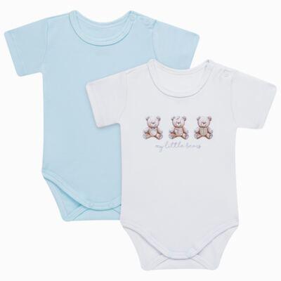 Imagem 1 do produto Pack: 02 Bodies curtos para bebe em algodão egípcio c/ jato de cerâmica Prince Bear - Mini & Classic - 1024656 PACK 2 BODIES MC SUEDINE URSO -P