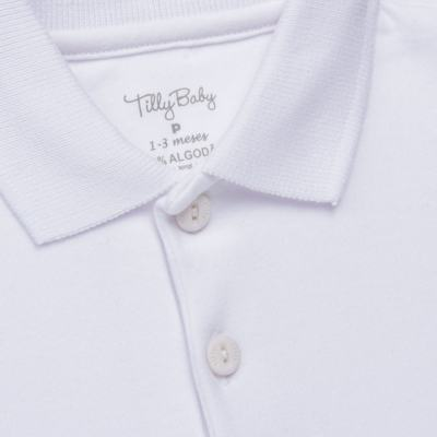Imagem 2 do produto Body Polo curto para bebe em suedine Branco - Tilly Baby - TB13120.01 BODY POLO MC SUEDINE BRANCO -GG