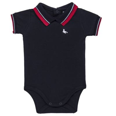 Body Polo para bebe em cotton touch Marinho - Mini Sailor - 04194262 BODY POLO M/C C/ RETILINEA SUEDINE MARINHO -NB