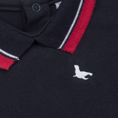 Imagem 2 do produto Body Polo para bebe em cotton touch Marinho - Mini Sailor - 04194262 BODY POLO M/C C/ RETILINEA SUEDINE MARINHO -NB