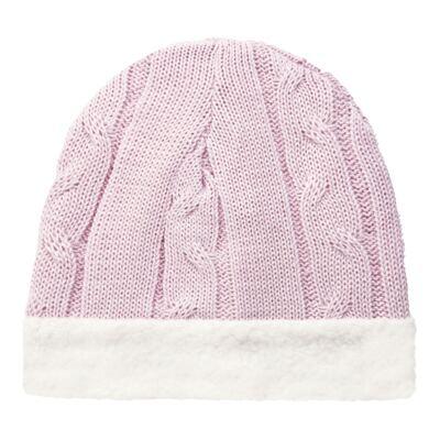 Imagem 1 do produto Gorro para bebê em pelúcia & tricot trançado Rosa - Mini Sailor - 46134264 GORRO FORRADO TRICOT/MAL ROSA BEBE-6-9