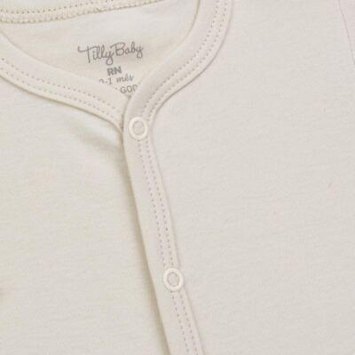 Imagem 2 do produto Macacão longo para bebe em suedine Bege - Tilly Baby - TB13113.02 MACACAO BASICO DE SUEDINE BEGE-G