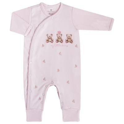 """Imagem 1 do produto Macacão longo c/ abertura """"S"""" para bebe em algodão egípcio Princess Bear - Mini & Classic - 2004655 MACACAO S C/ PE REVERSIVEL SUEDINE URSA-M"""