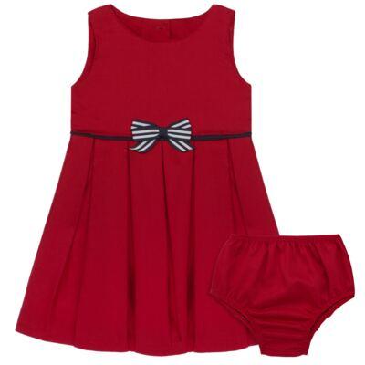 Imagem 1 do produto Vestido c/ Calcinha para bebe em fustão Scarlet - Mini Sailor - 14474263 VESTIDO C/ VIVO FUSTAO VERM ESC-9-12