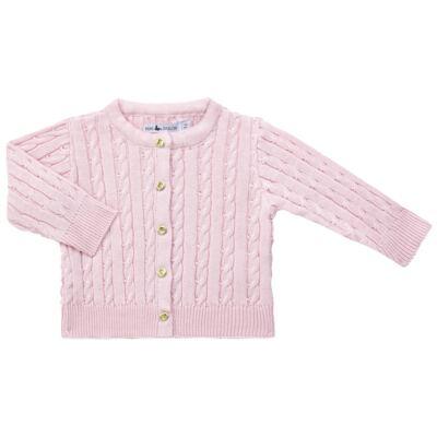 Imagem 1 do produto Casaquinho para bebe em tricot trançado Rosa - Mini Sailor - 75404264 CASAQUINHO BASICO TRANÇADO TRICOT ROSA BEBE-6-9